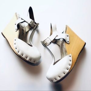 Dolce & Gabbana White Leather Wedge Shoes